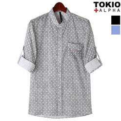 Linen Dot Roll Up Shirts