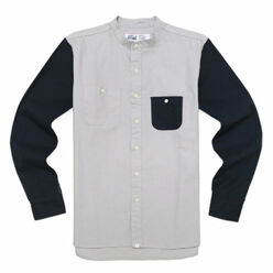 Band Collar Shirts-Grey/N...