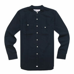 Band Collar Shirts-Navy