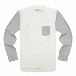 Band Collar Shirts-Ecru/G...