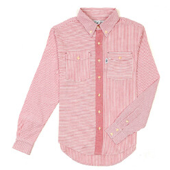 Stripe Oxford Shirts-Red