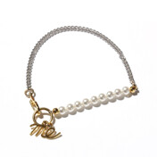 [�ܵ���Ī+���5%]Usual Silver Chain And Small Pearl Bracelet