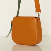 Color Block Leather Bag_Camel/Green
