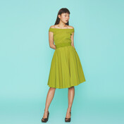 [SPRING SALE 20%+5%쿠폰]Off Shoulder Color Dress In Yellow Green