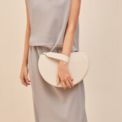 Half Moon Clutch, Cream