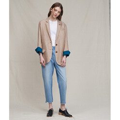 Paris Two Button Jacket (Beige Mixed Brown /Teal )