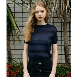 [5%쿠폰]Monts332 Striped Sheer Navy Knit (2color)