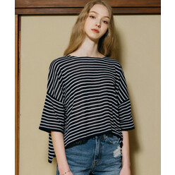 [5%쿠폰]Monts334 Striped Loose Fit Knit (Navy)