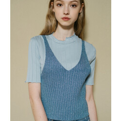 [5%쿠폰]Monts336 Metallic Knit Light-Blue Bustier (3color)
