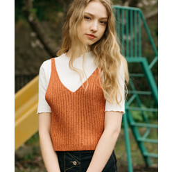 [5%쿠폰]Monts337 Metallic Knit Orange Bustier (3color)