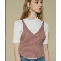 [5%쿠폰]Monts338 Metallic Knit Pink Bustier (3color)