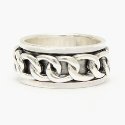 Rotation Chain Silver Ring