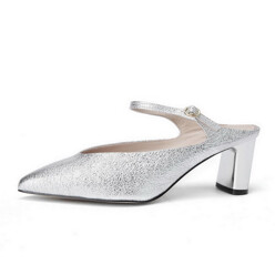 [Suecommabonnie] Metal Strap Pointed Toe Mule(Silv