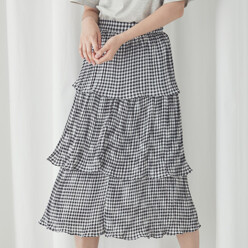 Gingham Tiered Skirt(Sk-2650)