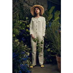 White Denim Jump Suit