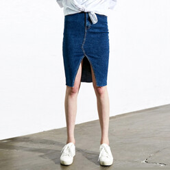 [17 신상_15%SALE]Highrise Slit Denim Skirt (Dark Denim)