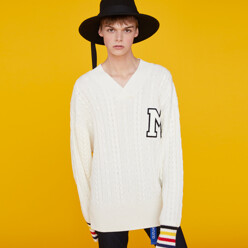 Colored Cuff M Patch Sweater White