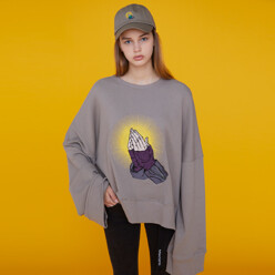 Prayer Hands Sweatshirt Gray