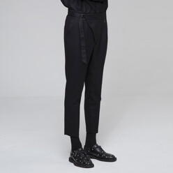 Belted Wool Slim Pants Bl...