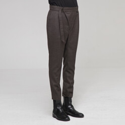 Belted Wool Slim Pants Br...