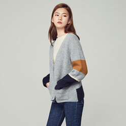 Color Block Knit Cardigan (Cd-1070)