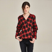 [20%SALE]Wrapover Check Blouse (Red)