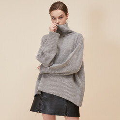 [5%SALE+5%쿠폰]Grey Cashmere Wool Turtleneck Knit