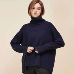 [5%SALE+5%쿠폰]Navy Cashmere Wool Turtleneck Knit
