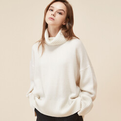 [5%SALE+5%쿠폰]Ivory Cashmere Wool Turtleneck Knit