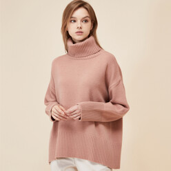 [5%SALE+5%쿠폰]Pink Cashmere Wool Turtleneck Knit