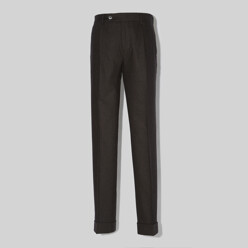 One Pleat Wool Trousers - Brown