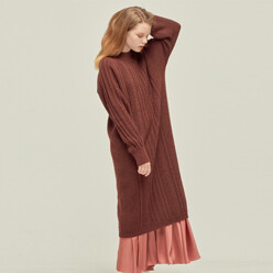 Cable Knit Dress_M/Rd