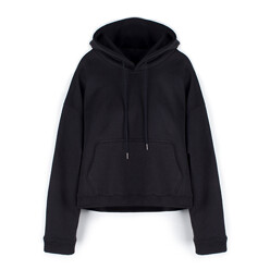 Cropped Hoodie / Over Fit - Black
