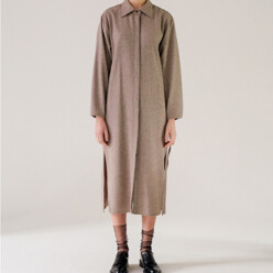 Wool Blended Long Shirt(Beige)