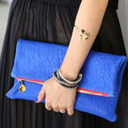 Foldover Clutch (Blue Pebble)