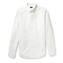 Button-Down Collar Cotton...
