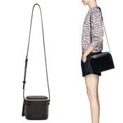 Black Pebbled Leather Stowaway Shoulder Bag