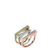 Pave Tri-Tone Stackable Rings, Set Of 3