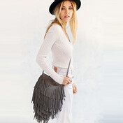 [������]Suede Layered Fringe Crossbody Bag