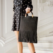 [�̽�������]Fringed Leather Tote In Black