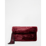 [Ư������]Faux Fur Roll Top Clutch Bag With Chunky Tassel