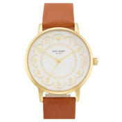 Metro Scalloped Dial Leather Strap Watch, 34mm