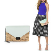 Leather Straw Envelope Clutch