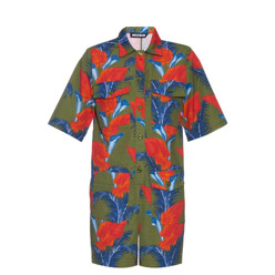 house of holland Cotton-Barkcloth Tropical Floral-Print Playsuit 할인가 390,300원