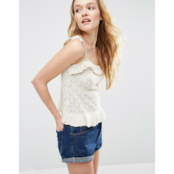 POINT Asos Knit Cami In Pointelle With Ruffle Detail 할인가 62,800원
