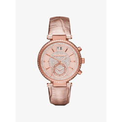 Michael Kors Sawyer Rose Gold-Tone And Leather Watch 할인가 255,400원