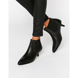 Selected Femme Tallulah Black Leather Kitten Heel Boots 할인가 201,700원