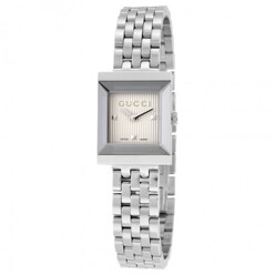 G-Frame Silver Guilloche Dial Stainless Steel Ladi