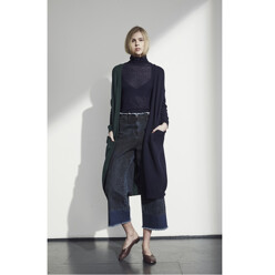 Color Block Long Cardigan - Navy/Green