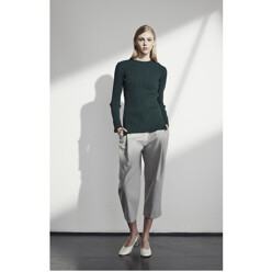 Pleat Front Cropped Trousers - Gray